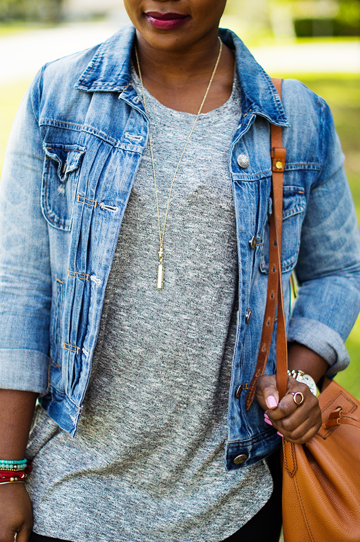 casual weekend outfit with denim jacket grey tunic and black leggings jcrew downing bucket replica bag cognac 2