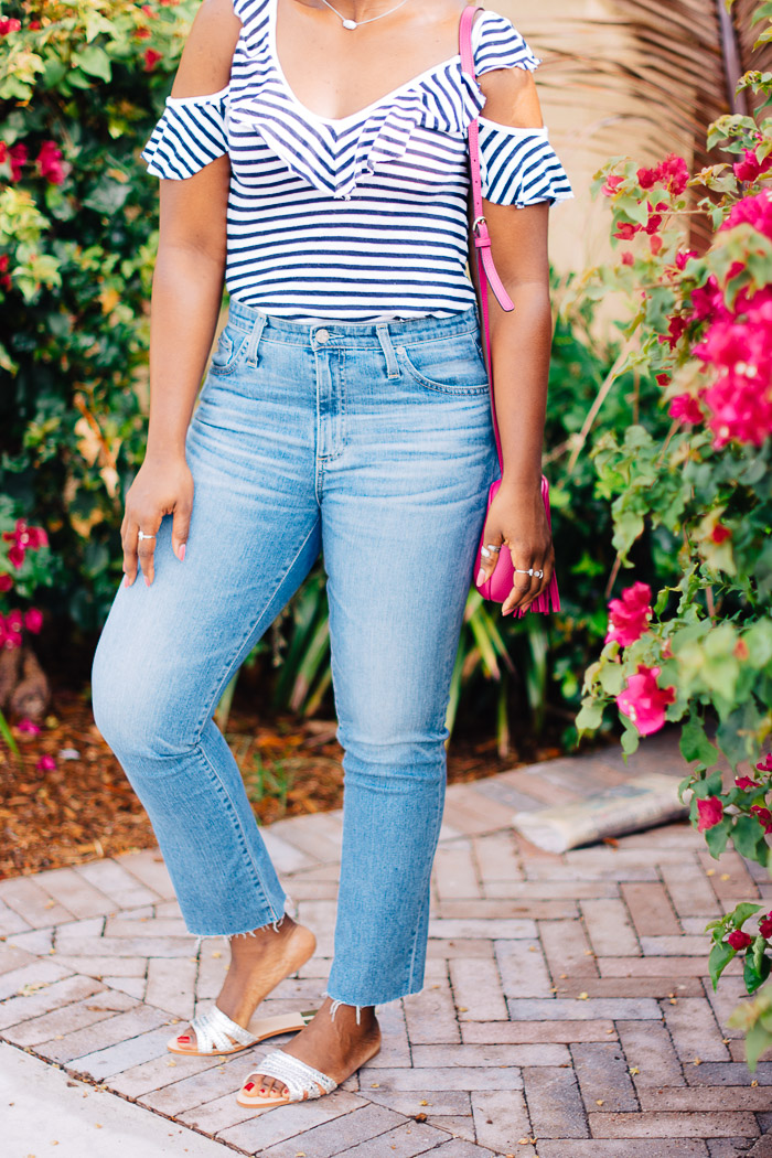 casual weekend outfit with jeans and slides