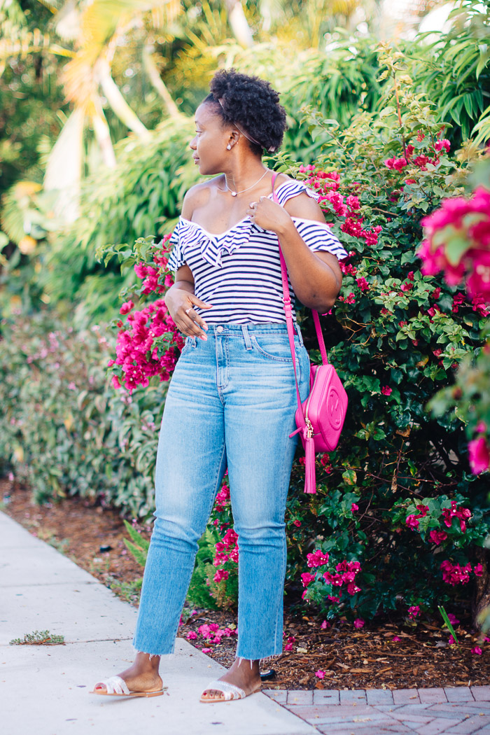 casual weekend outfit with striped tee
