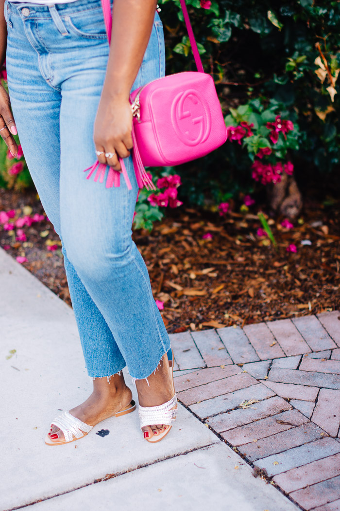 jeans with slides outfit