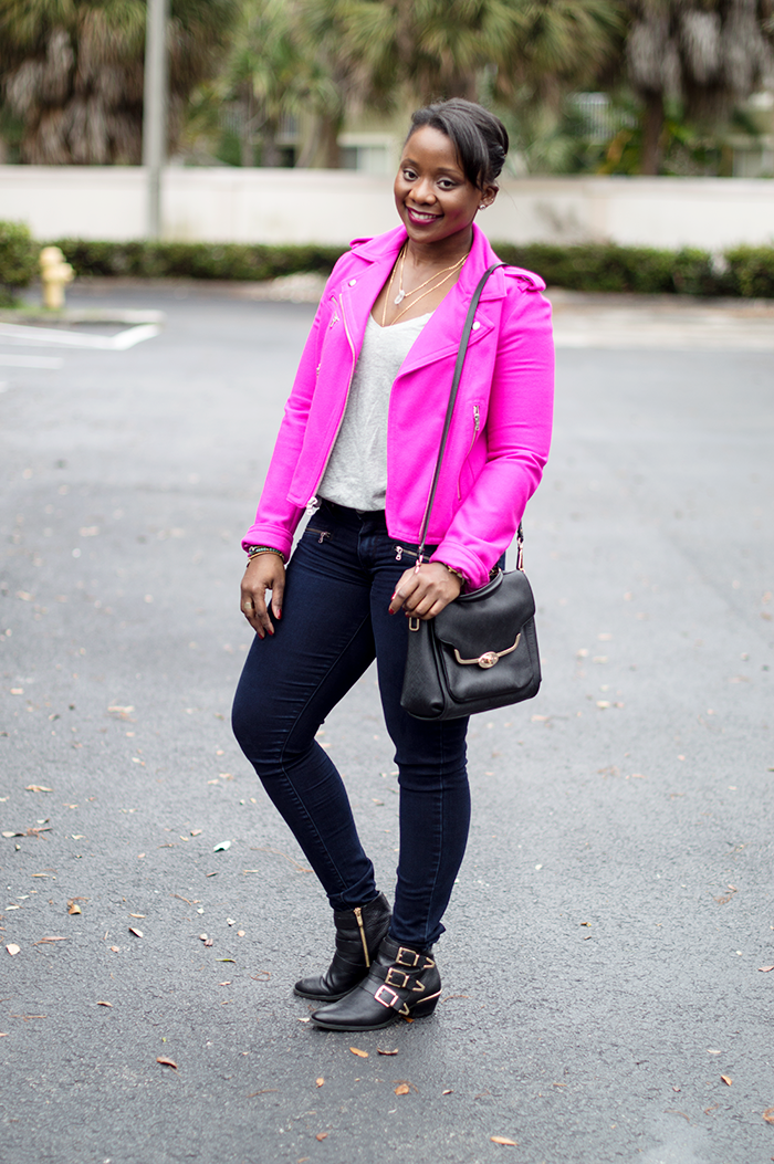 pink moto jacket paige denim jeans and vince camuto booties 1