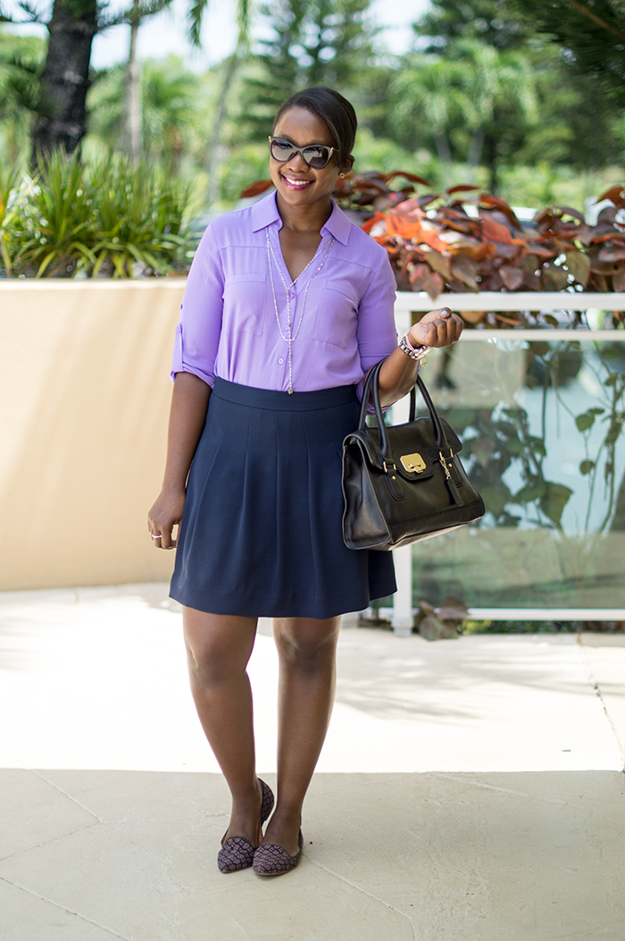 work outfit with purple shirt and navy skirt 1