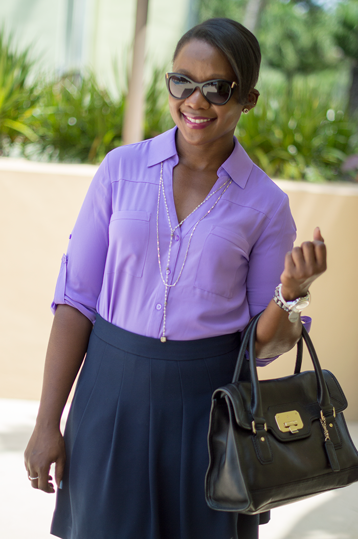 work outfit with purple shirt and navy skirt 2