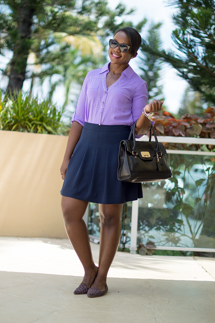 work outfit with purple shirt and navy skirt 4