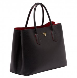 Prada-Saffiano-Cuir-Double-Bag-Black