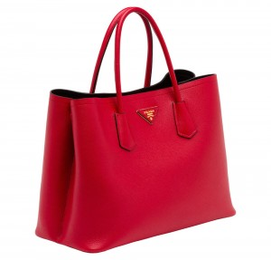 Prada-Saffiano-Cuir-Double-Bag-Red