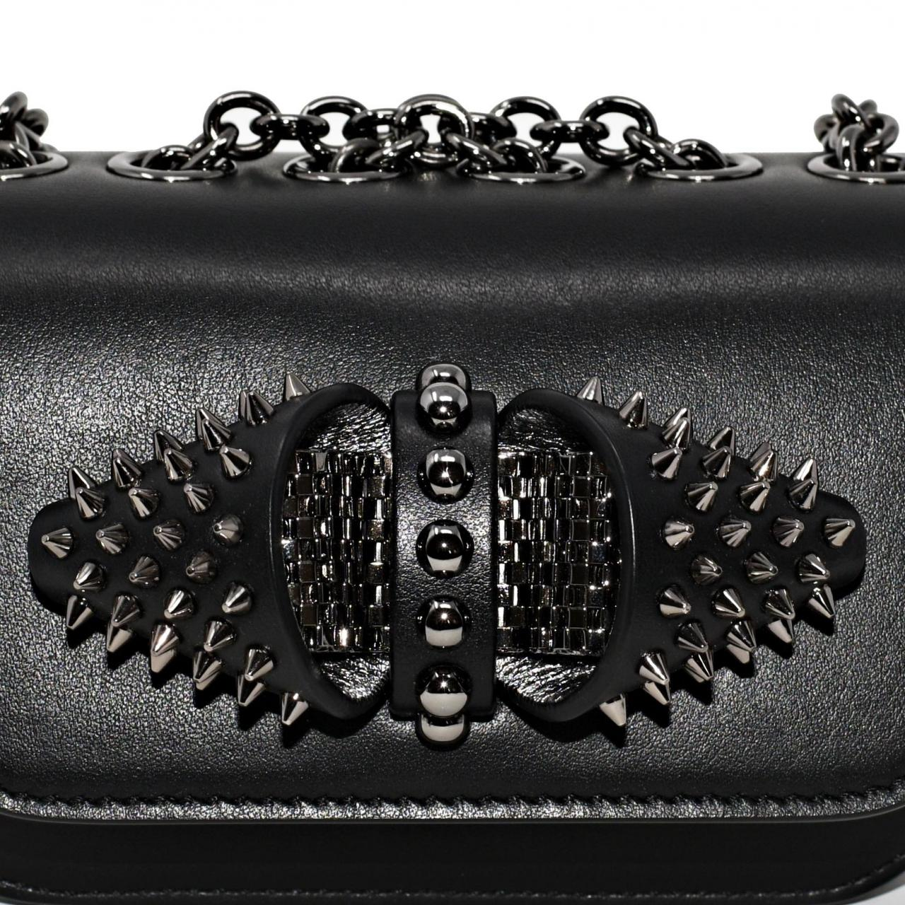 056b2280e37 Online Safe Replica Bags Christian Louboutin Sweet Charity Baby Spiked  Chain Black Calfskin Leather Cross Body Bag