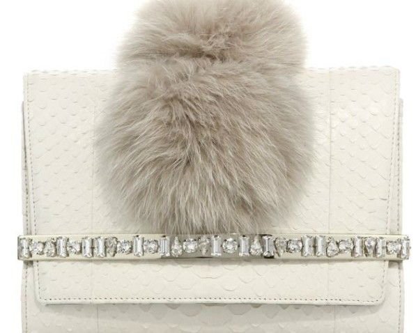 Jimmy Choo White Python Bow Clutch replica Bag